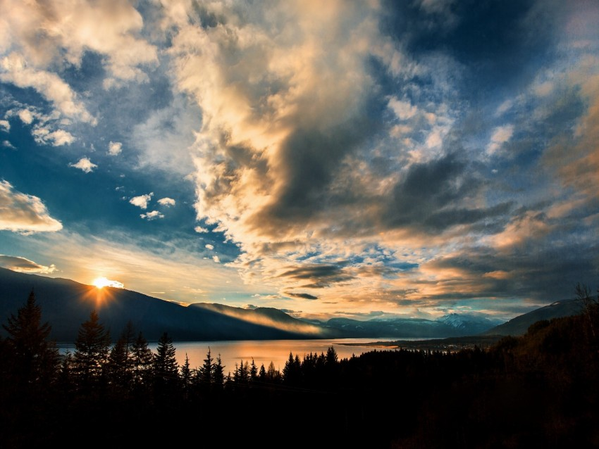 mountains, lake, sunset, horizon, clouds, trees, landscape background@toppng.com