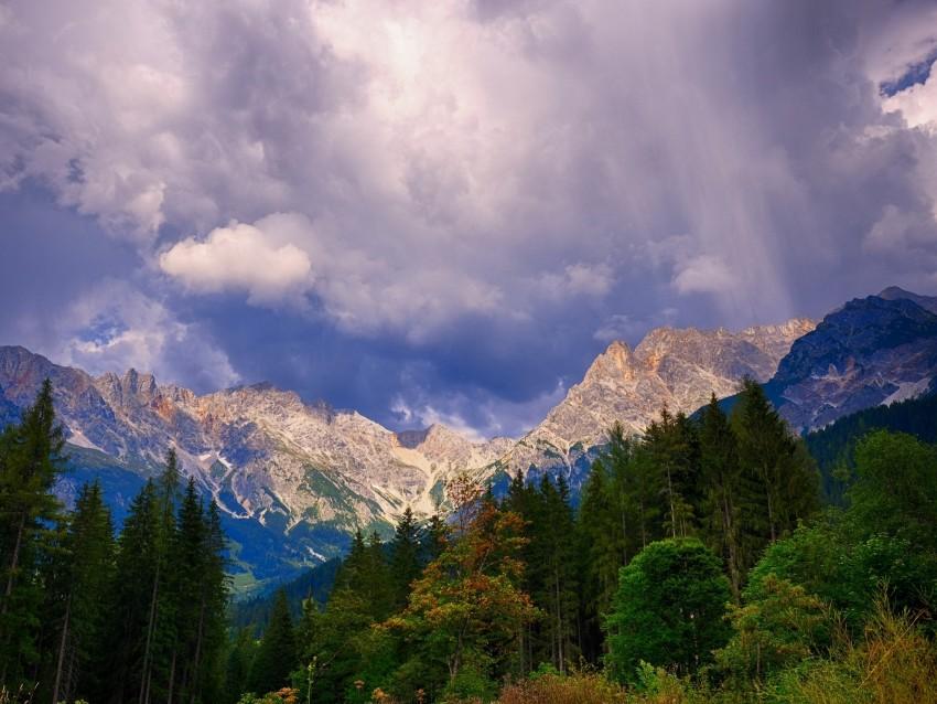 free PNG mountains, trees, clouds, mountain landscape, autumn, autumn landscape background PNG images transparent