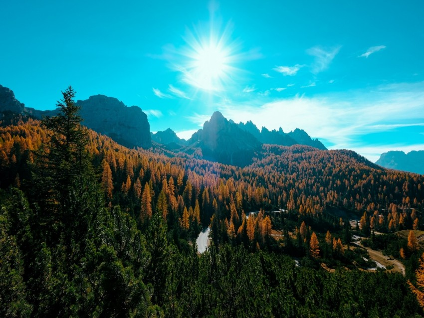 free PNG mountains, trees, sun, rays, autumn, aerial view background PNG images transparent