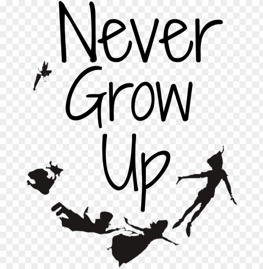 free PNG #mq #words #text #peterpan #disney #black #silhouette - tatuaje peter pan never grow u PNG image with transparent background PNG images transparent