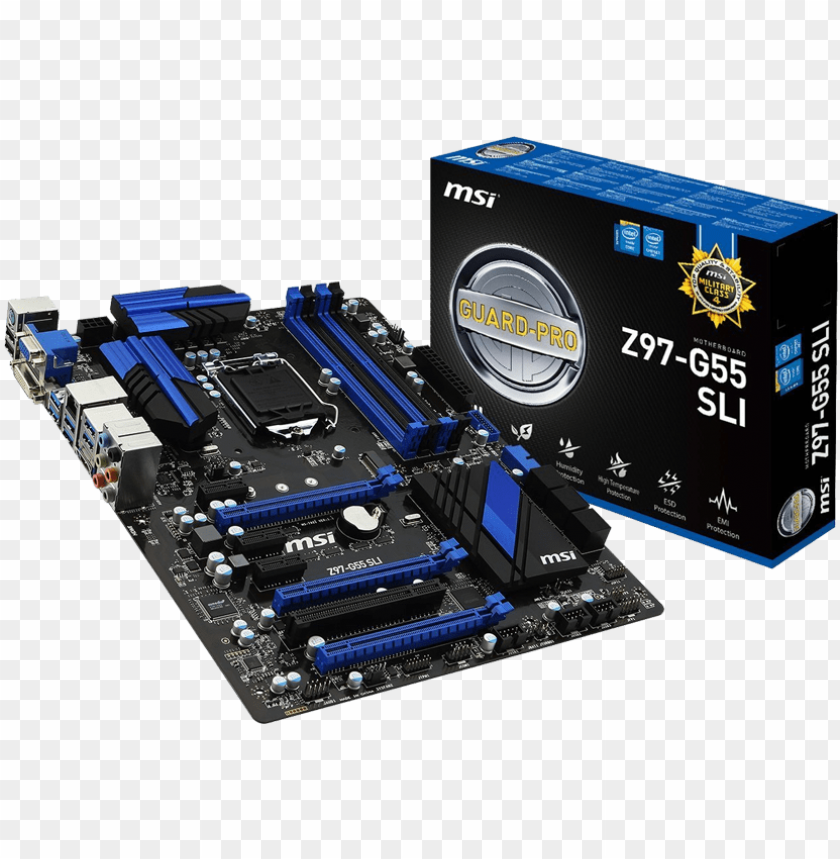 free PNG msi g55-sli box with board - msi h97m g43 PNG image with transparent background PNG images transparent