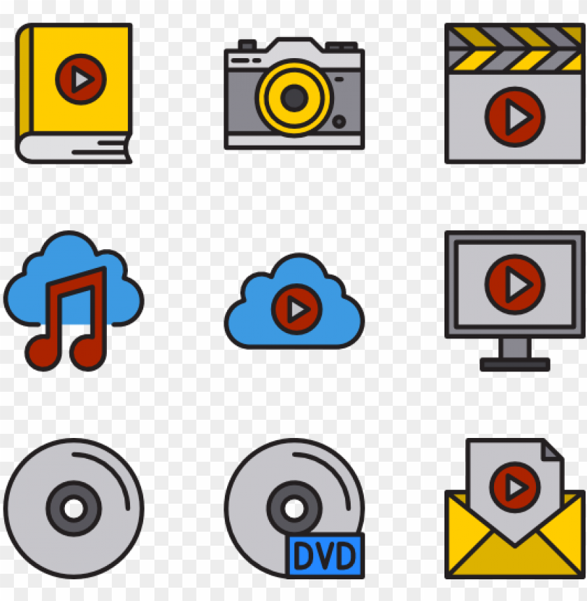 multimedia 36 icons PNG image with transparent background@toppng.com