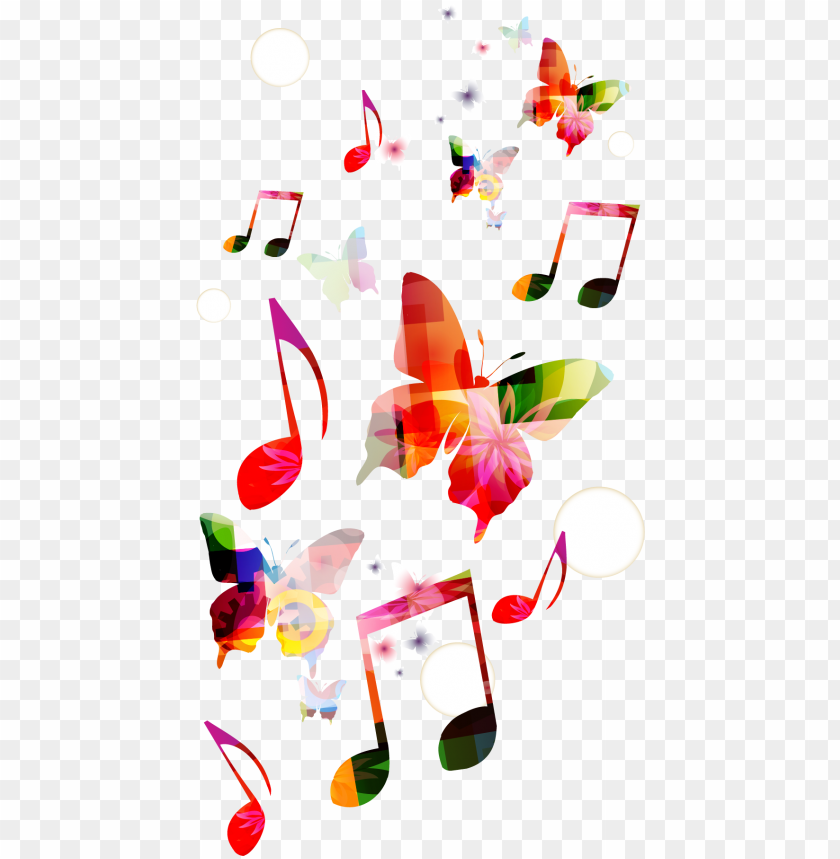 free PNG musical background clef butterfly - transparent background colorful music notes PNG image with transparent background PNG images transparent