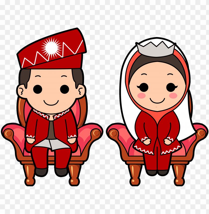 free PNG muslim wedding cartoon - muslim wedding couple cartoon PNG image with transparent background PNG images transparent