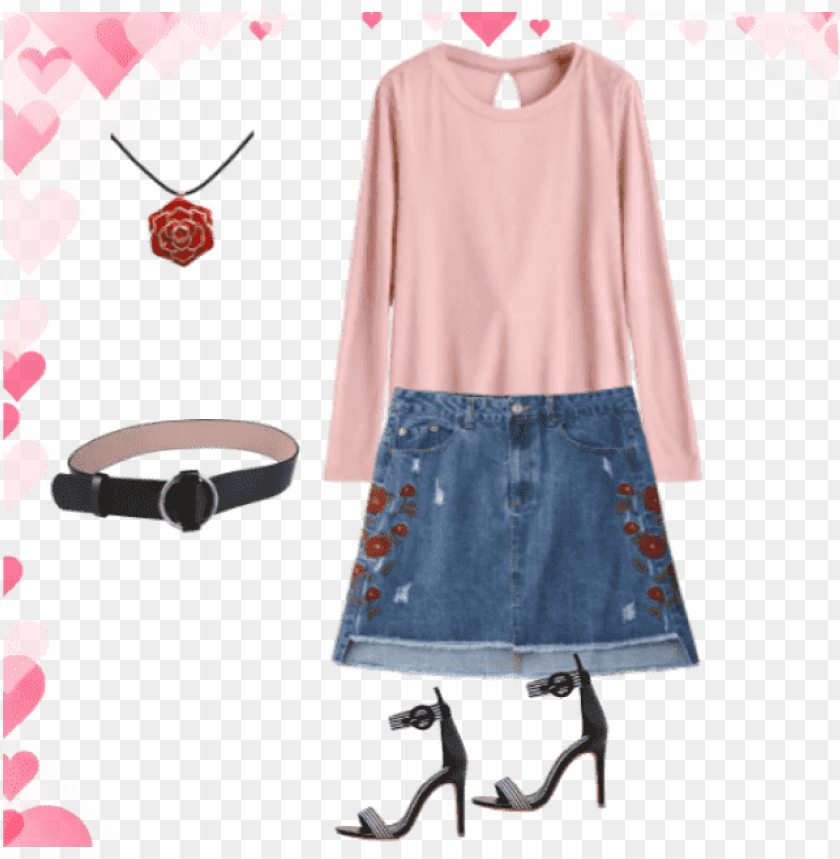 free PNG my outfit of the day denim skirt , zaful heels , belt - a-line PNG image with transparent background PNG images transparent