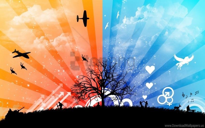 Nature Plane Sky Stripes Vector Wallpaper Background