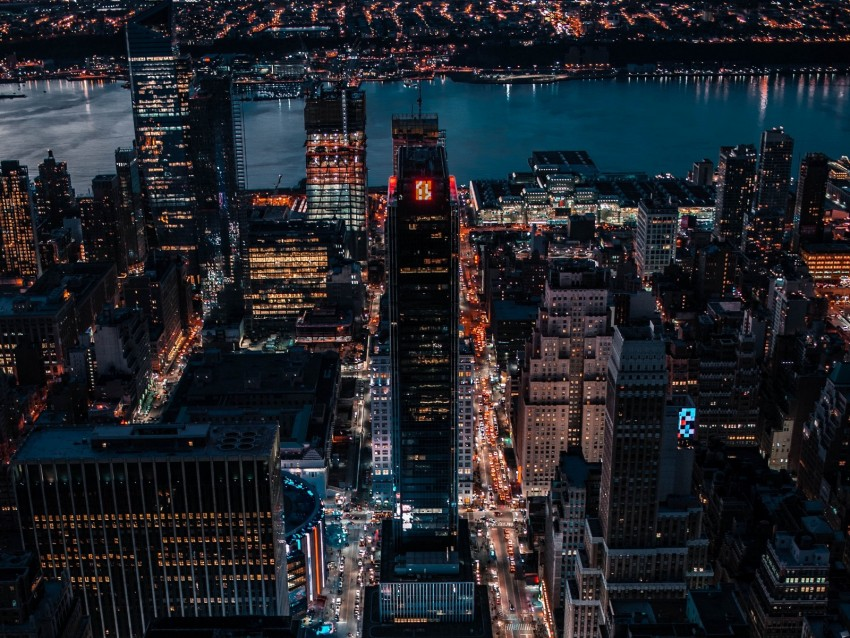 free PNG night city, aerial view, skyscrapers, city lights, buildings, metropolis background PNG images transparent