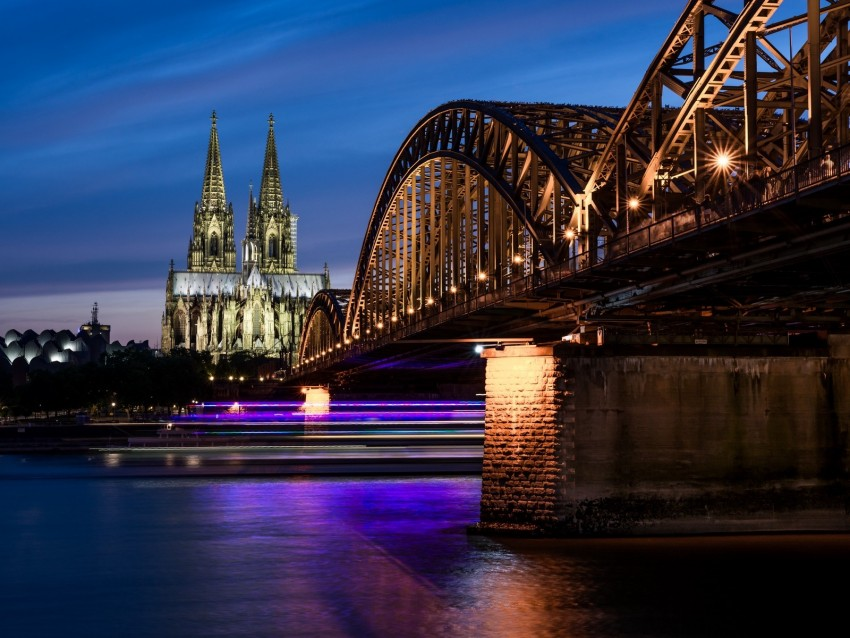 free PNG night city, architecture, bridge, city lights, cologne, germany background PNG images transparent