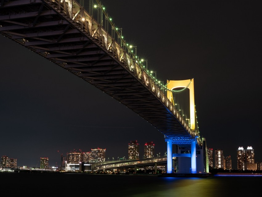 free PNG night city, bridge, lights, city lights, tokyo background PNG images transparent