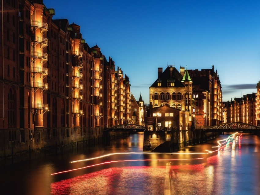 free PNG night city, building, architecture, hamburg, germany background PNG images transparent