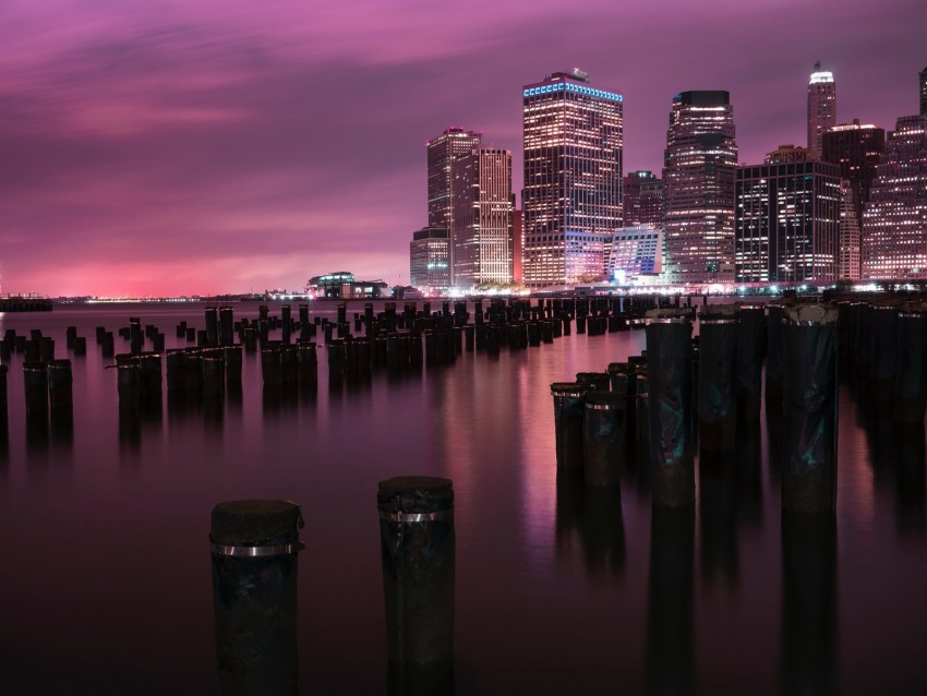 free PNG night city, buildings, coast, city lights, usa background PNG images transparent