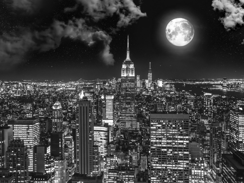 free PNG night city, bw, full moon, new york, usa background PNG images transparent