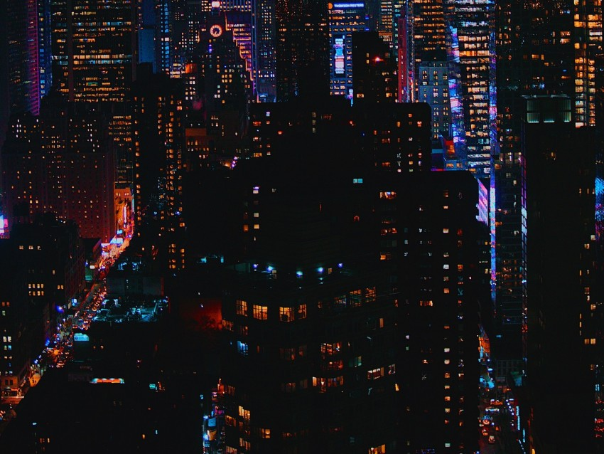 free PNG night city, city lights, buildings, skyscrapers, night background PNG images transparent