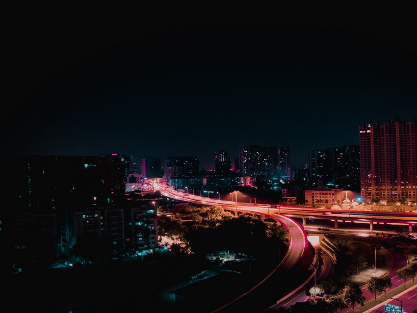 night city, city lights, night, road, lights background@toppng.com