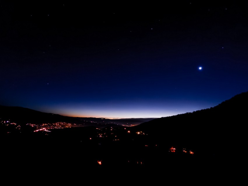 free PNG night city, city lights, starry sky, night, dark background PNG images transparent