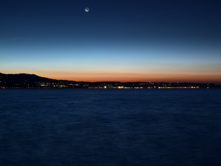 free PNG night city, horizon, sunset, night, sea, coast background PNG images transparent