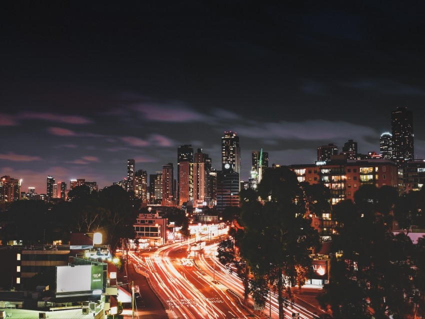 free PNG night city, long exposure, city lights, road, night background PNG images transparent