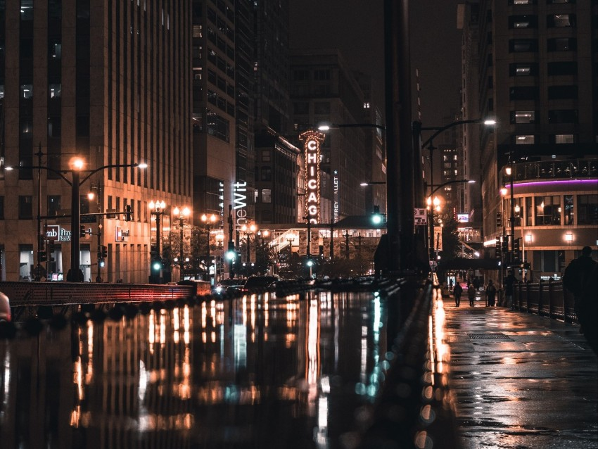 free PNG night city, street, city lights, architecture, chicago, usa background PNG images transparent