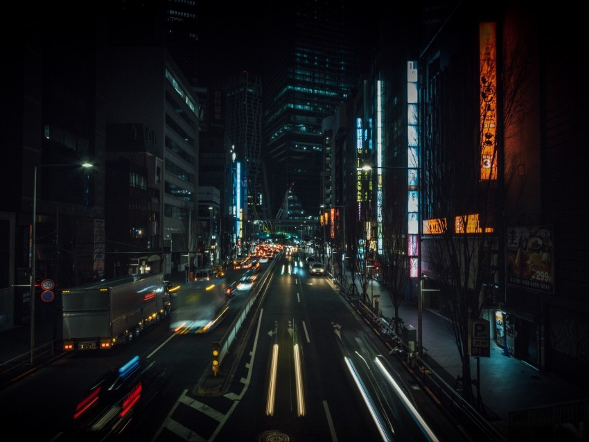 free PNG night city, street, city lights, traffic, buildings, tokyo, japan background PNG images transparent