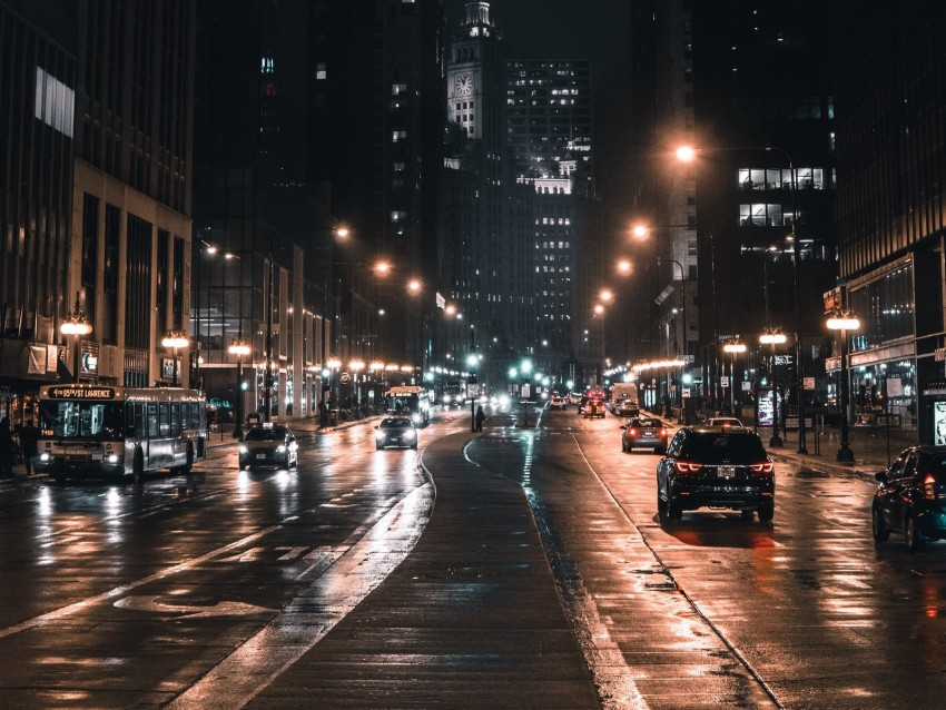 free PNG night city, street, city lights, traffic, chicago, usa background PNG images transparent