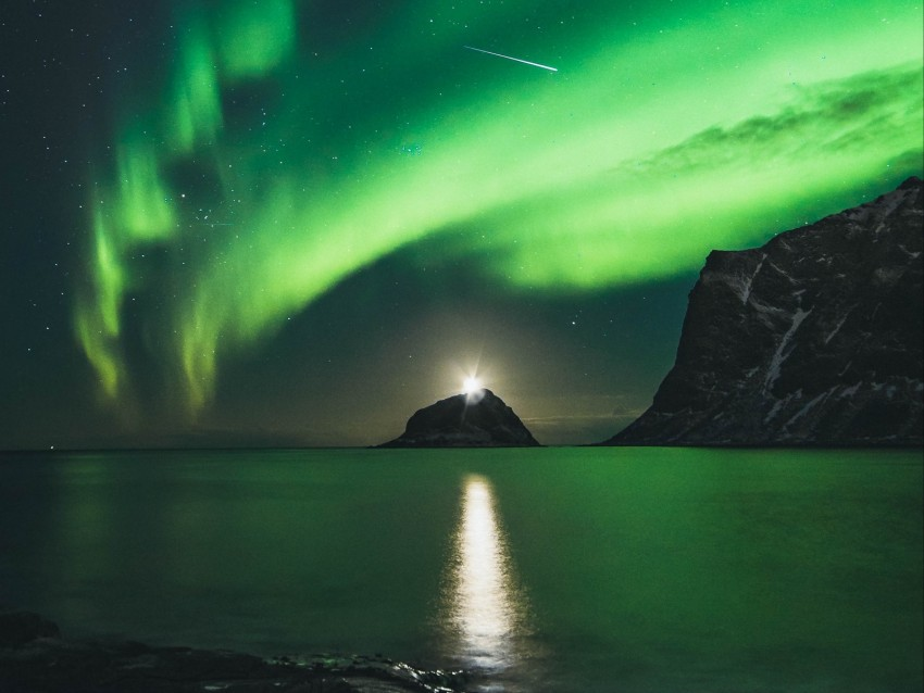 free PNG northern lights, aurora, mountains, lake, night, lights background PNG images transparent
