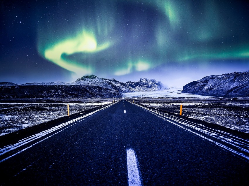 free PNG northern lights, aurora, road, marking, mountains, snow background PNG images transparent