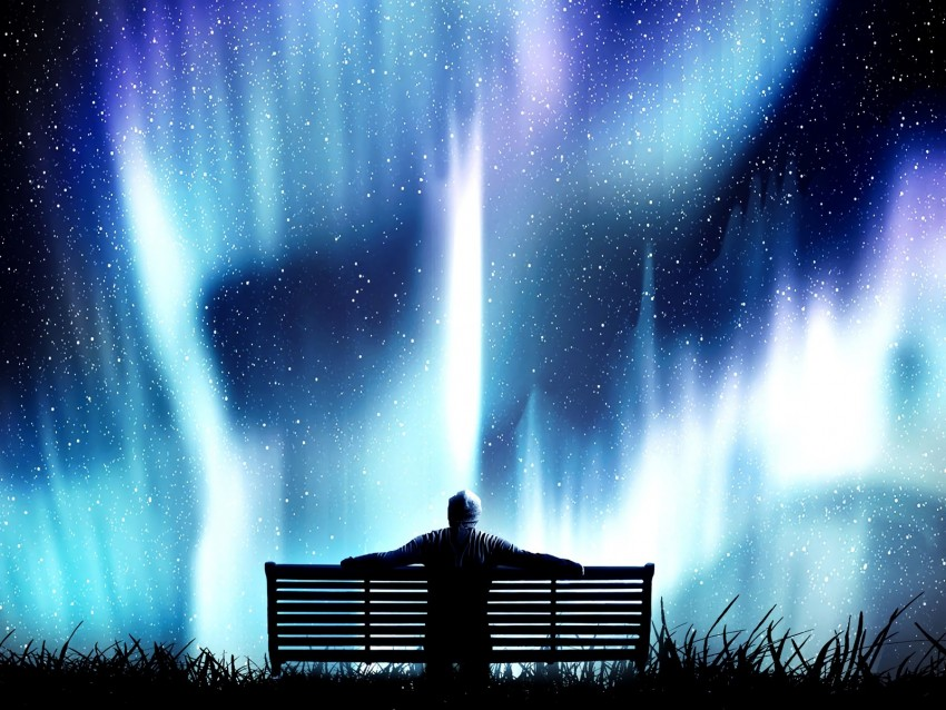 free PNG northern lights, bench, loneliness, photoshop, starry sky background PNG images transparent