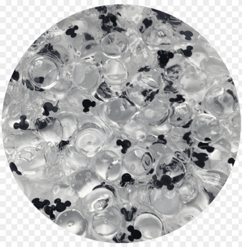 free PNG oh mickey fishbowl slime a clear fishbowl slime with - clear slime black glitter PNG image with transparent background PNG images transparent