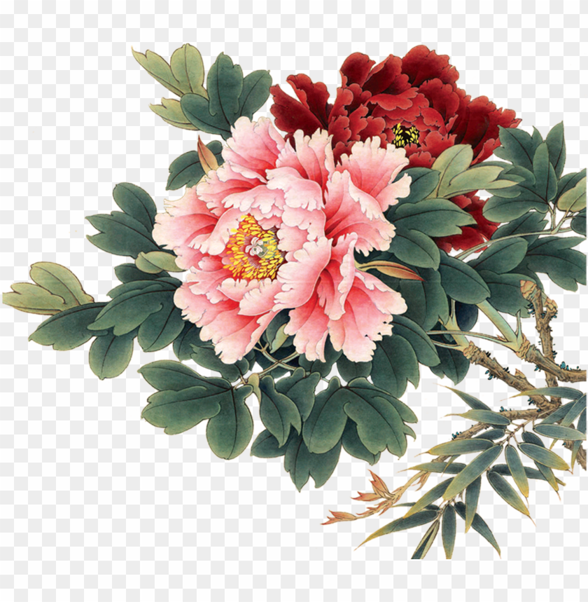 free PNG oil painting flowers, china painting, watercolor flowers, - peony flower chinese PNG image with transparent background PNG images transparent