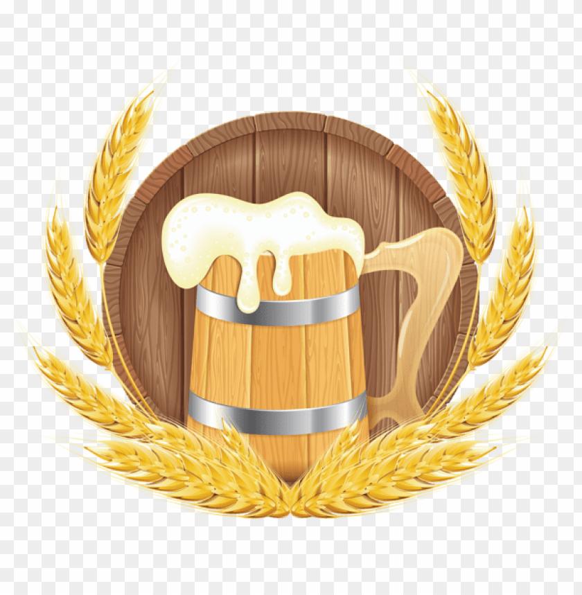 free PNG Download oktoberfest beer barrel mug and wheat png images background PNG images transparent