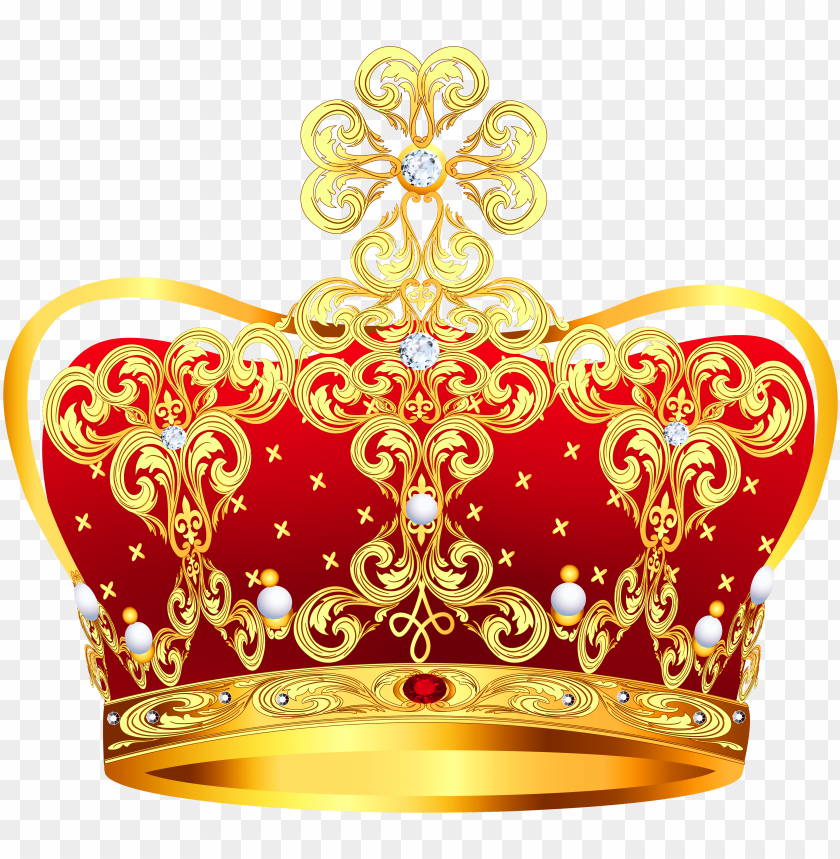 free PNG old and red crown with pearls png clipart picture - crown for queen PNG image with transparent background PNG images transparent