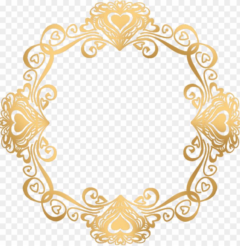 free PNG old flower frame png file - wedding invitation gold frame PNG image with transparent background PNG images transparent