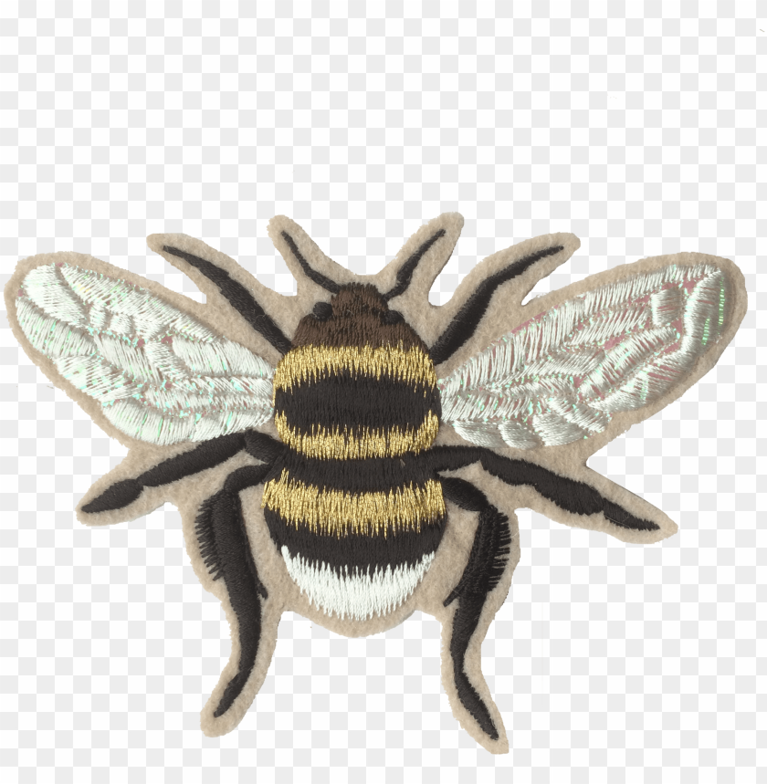 free PNG old iridescent bee embroidered patch - bee patch PNG image with transparent background PNG images transparent