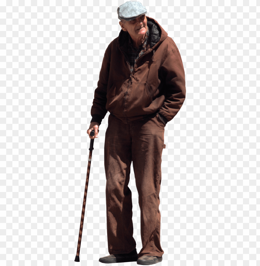 free PNG old man with walking stick and flat cap cut out people, - old man PNG image with transparent background PNG images transparent
