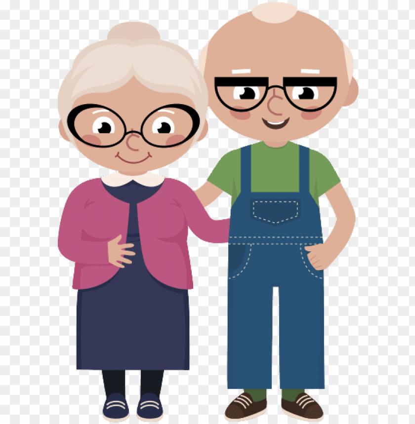free PNG old married couple png - desenho casal de velhinhos PNG image with transparent background PNG images transparent