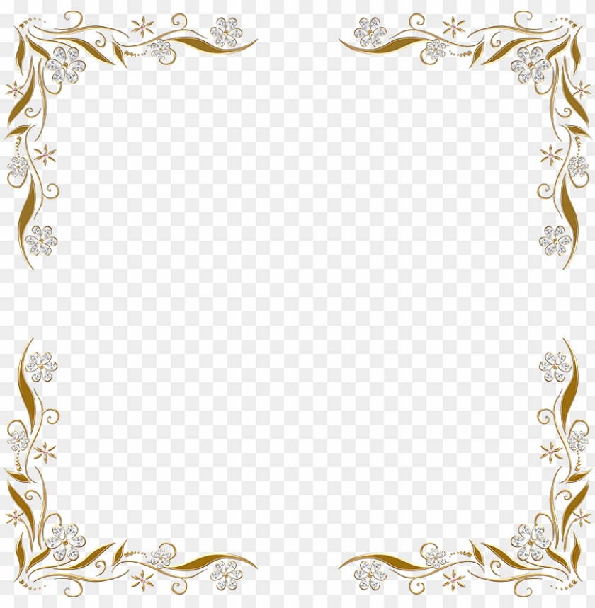 free PNG olden floral corners frame 2 by paw prints designs - silver and gold border PNG image with transparent background PNG images transparent