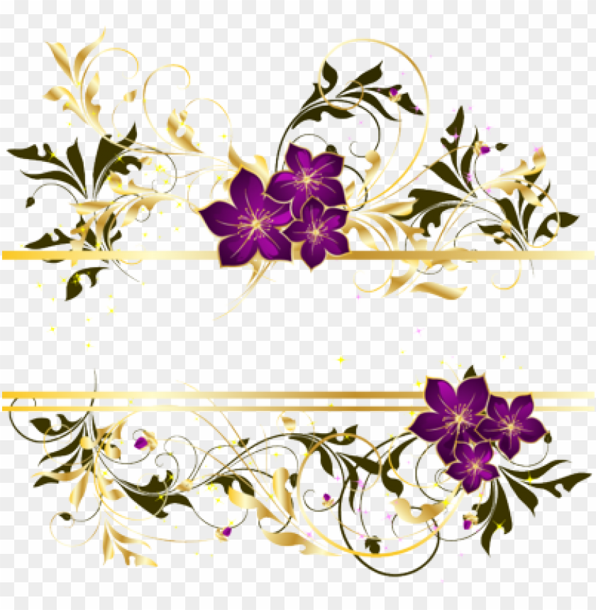 free PNG olden vector swirl png gold swirls border png swirl - purple and gold flower PNG image with transparent background PNG images transparent