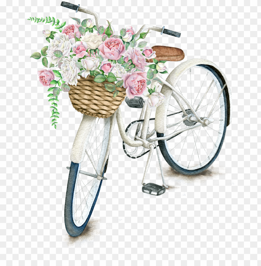 free PNG on bicycle light napkin daily pillow t-shirt clipart - flower bicycle basket PNG image with transparent background PNG images transparent