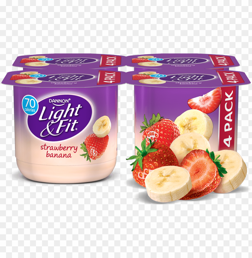 free PNG onfat light strawberry banana yogurt from giant eagle - dannon light & fit nonfat yogurt strawberry cheesecake PNG image with transparent background PNG images transparent