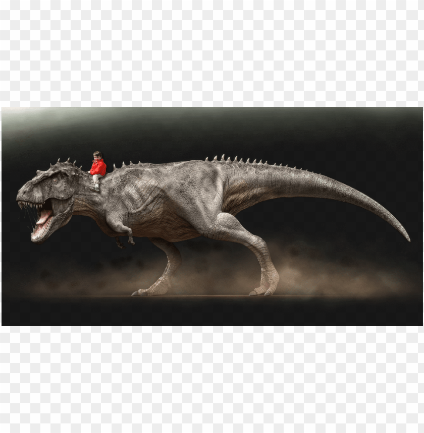 free PNG order a photo of your child riding a dinosaur - man riding t rex PNG image with transparent background PNG images transparent