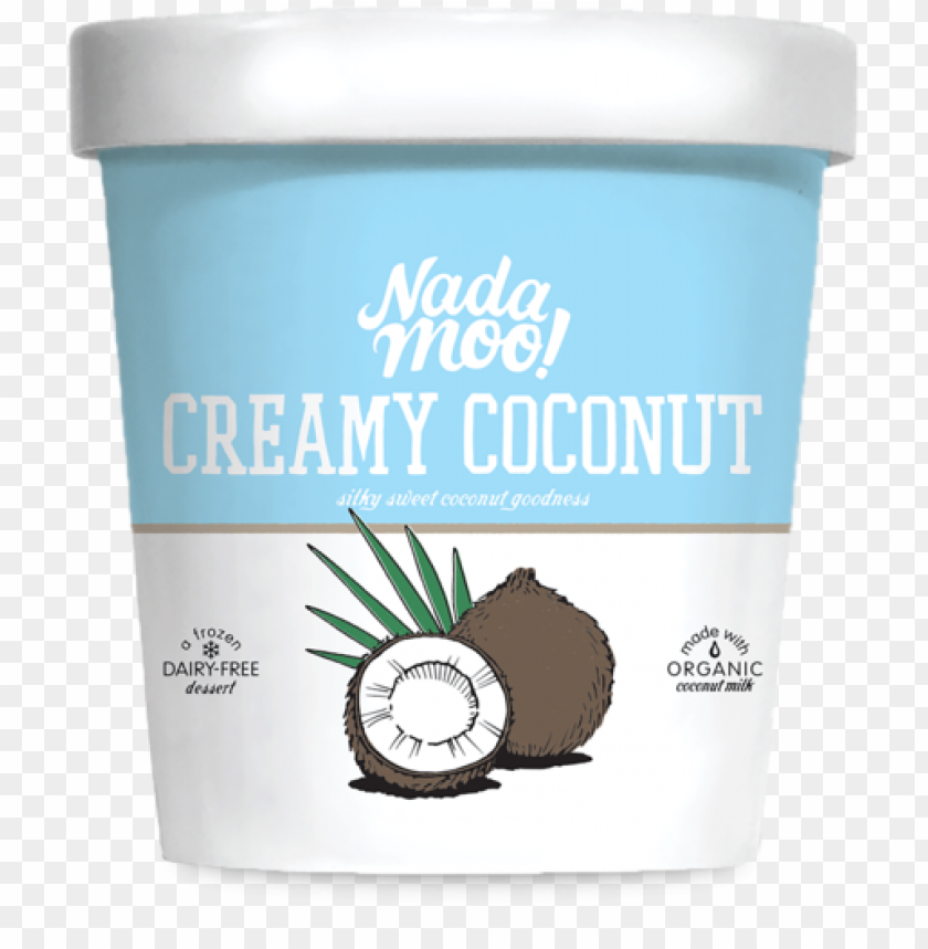 free PNG organic creamy coconut ice cream made with coconut - nadamoo frozen dessert, dairy-free, the rockiest road PNG image with transparent background PNG images transparent