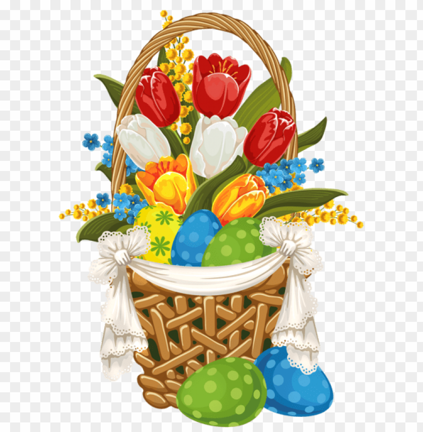 Download painted easter basket with easter eggs png images background@toppng.com