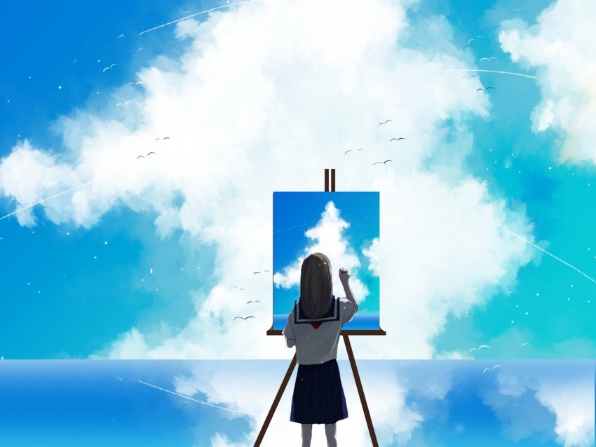 free PNG painter, sky, clouds, art, canvas, paint background PNG images transparent