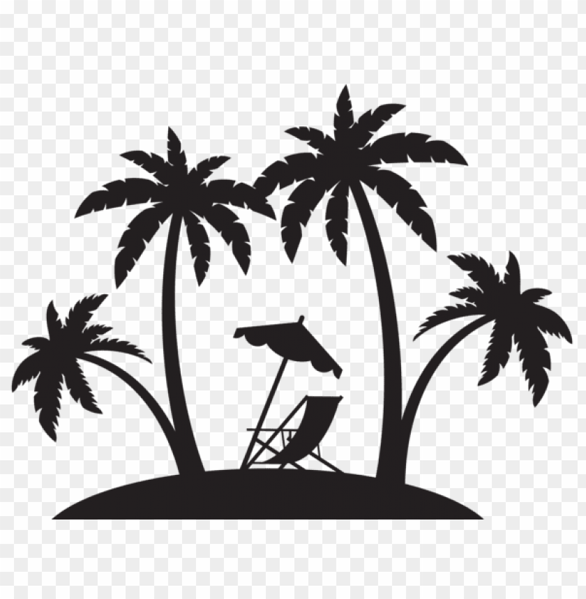 free PNG palms and beach chair silhouette png png - Free PNG Images PNG images transparent