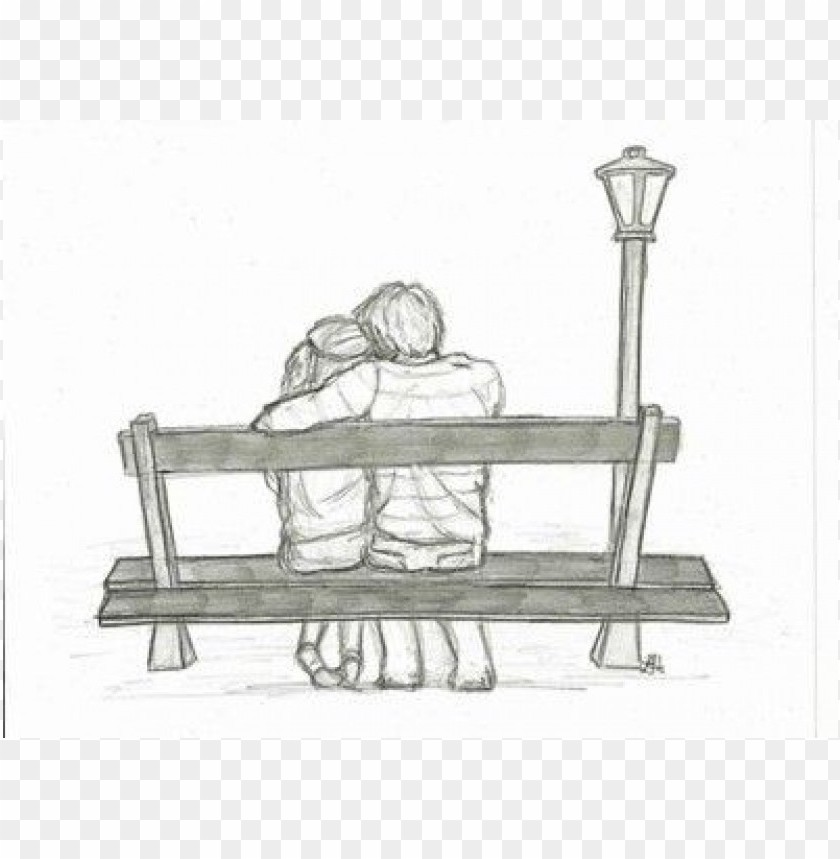 Park Bench Drawing Back View Png Image With Transparent Background