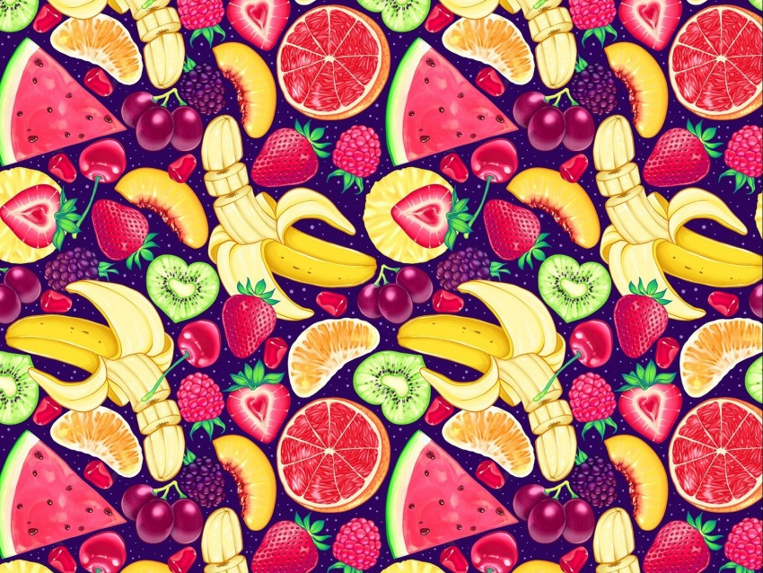 free PNG pattern, bright, delicious, banana, strawberry, orange, kiwi, watermelon, grapes, cherry, raspberry, blackberry, mango background PNG images transparent