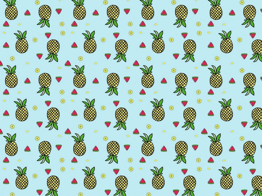 free PNG pattern, fruit, tropical, pineapple, watermelon, lime background PNG images transparent