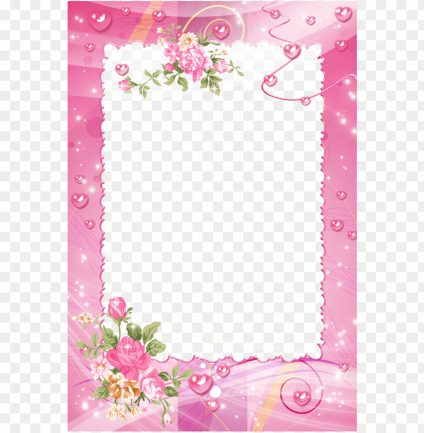 free PNG photo, borders for paper, borders and frames, flower - pink flower frame PNG image with transparent background PNG images transparent