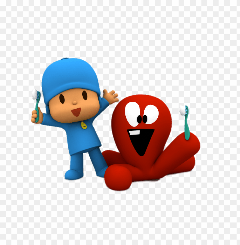 free PNG Download pocoyo and fred brushing teeth clipart png photo   PNG images transparent