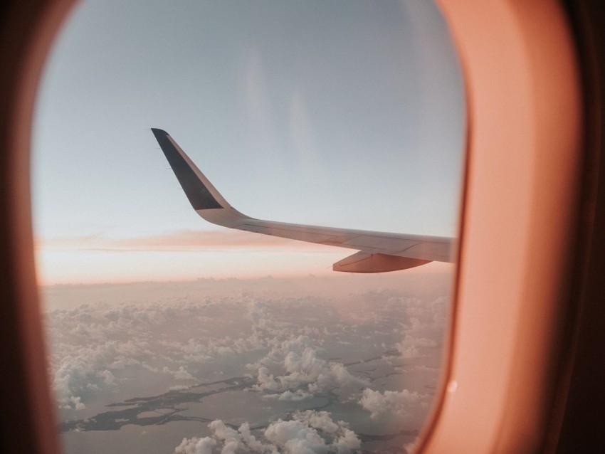 Porthole Airplane Window Aircraft Wing Flight Sky Background